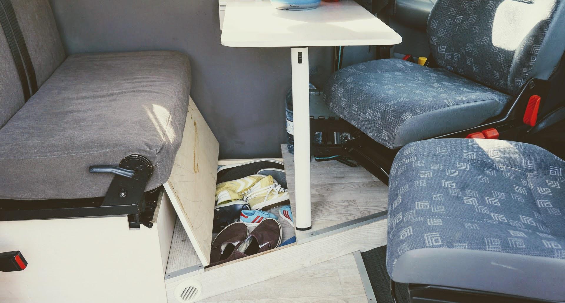 Platz für Schuhe im Camper
